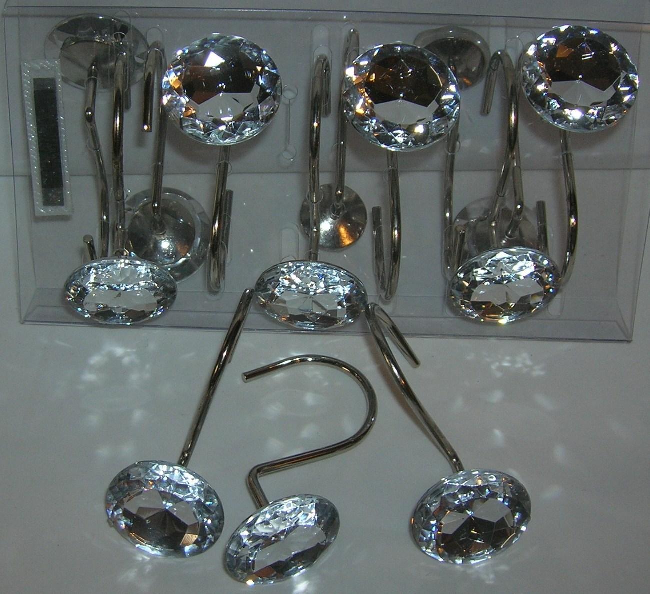 12 DECORATIVE RHINESTONE ROLLING SHOWER CURTAIN HOOKS CRYSTAL CLEAR BATH ACCESSO