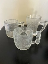 Vintage Flintstones Collectible Clear Glass Mugs, Set of 3 from McDonald's - $14.24