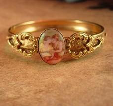 Vintage portrait Bracelet Victorian cameo 2 SISTERS hinged Bangle  - $165.00