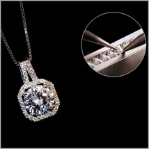 "Rectangle Rhodium 18K WGold Fill Encircled Zirconian Pendant 18"" Box Link Chain image 3"