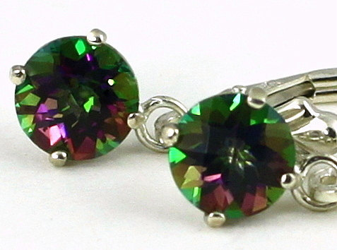 Primary image for SE017, 6mm Mystic Fire Topaz, 925 Sterling Silver Leverback Earrings