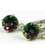 SE017, 6mm Mystic Fire Topaz, 925 Sterling Silver Leverback Earrings - £36.11 GBP