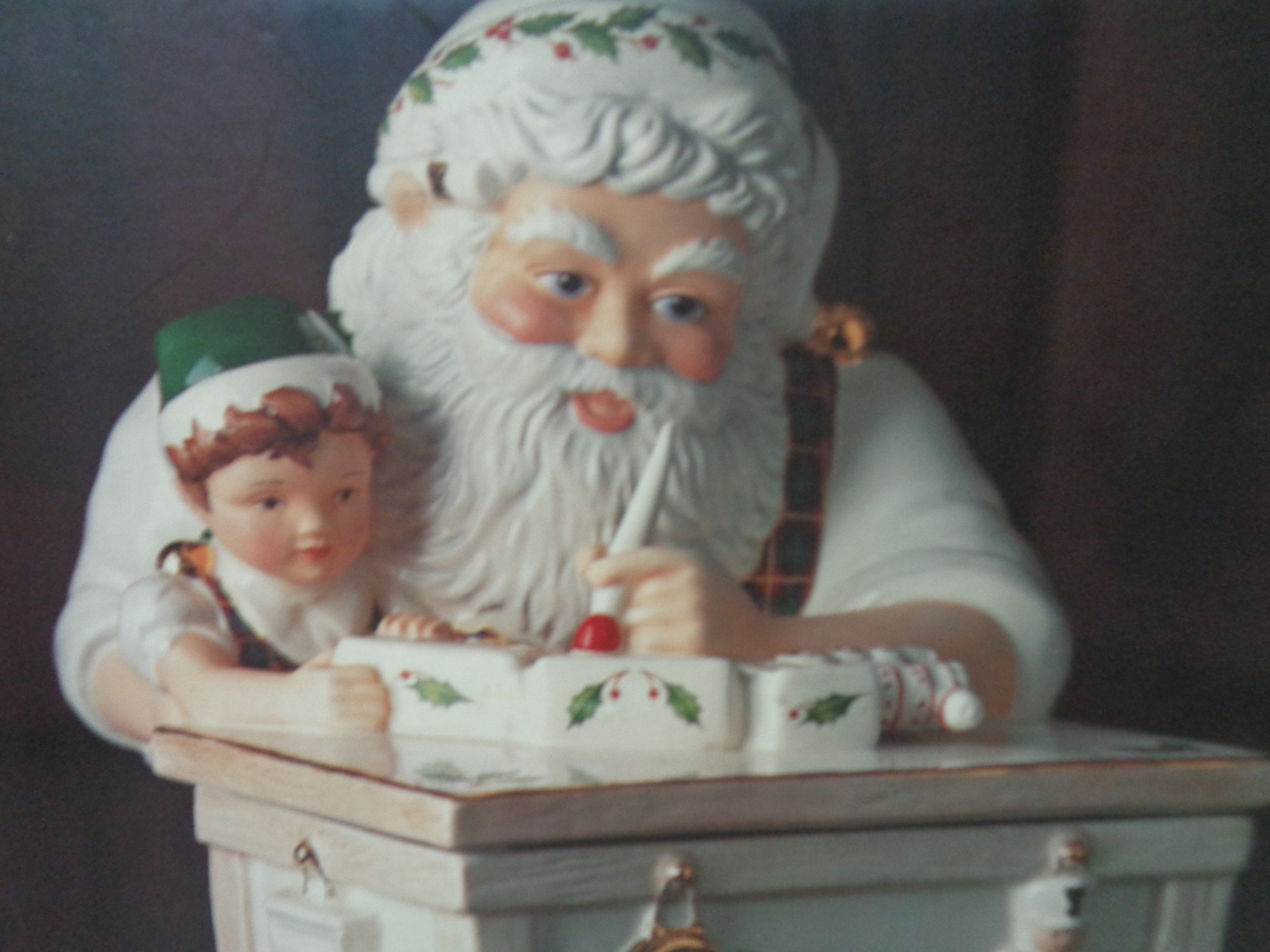 "Lenox 12"" Tall Holiday Santa Workshop Cookie Jar NIB"