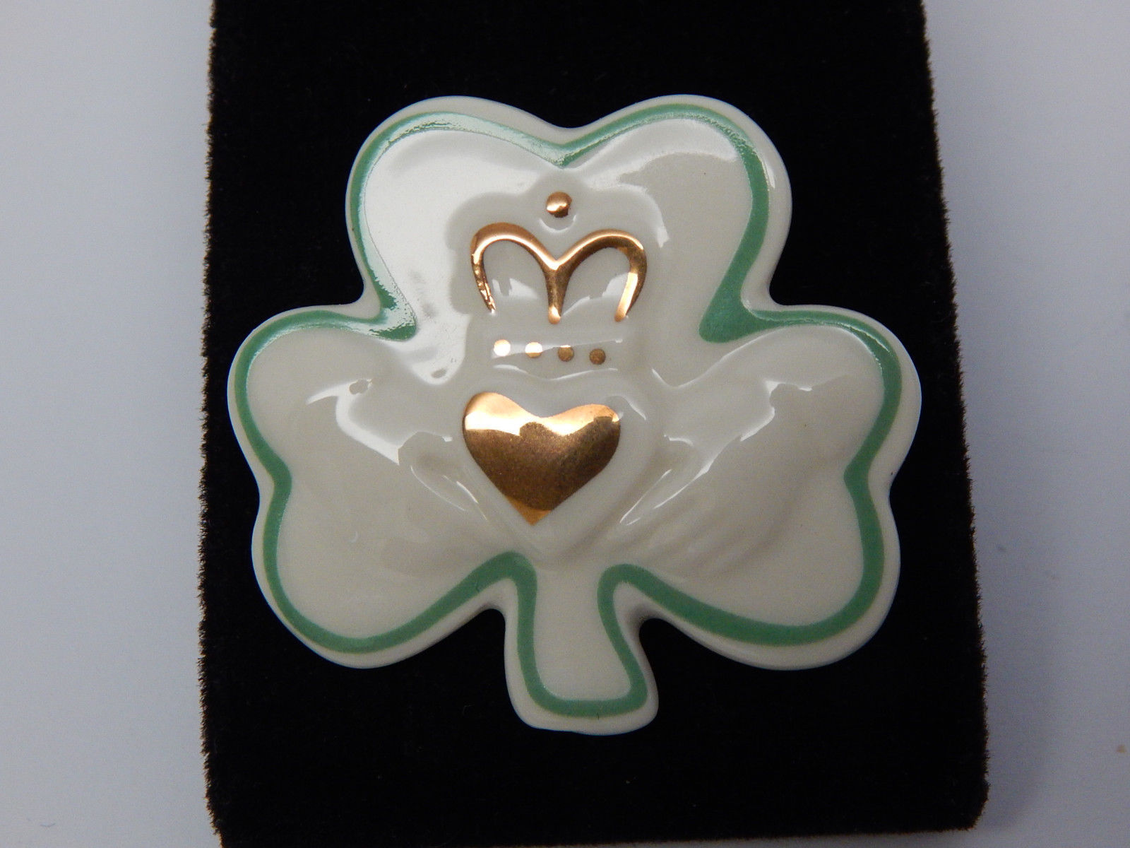 LENOX SHAMROCK BROOCH Pin with 24K Gold accents - HANDCRAFTED - FREE SHIPPING