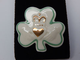 LENOX SHAMROCK BROOCH Pin with 24K Gold accents - HANDCRAFTED - FREE SHI... - $24.00