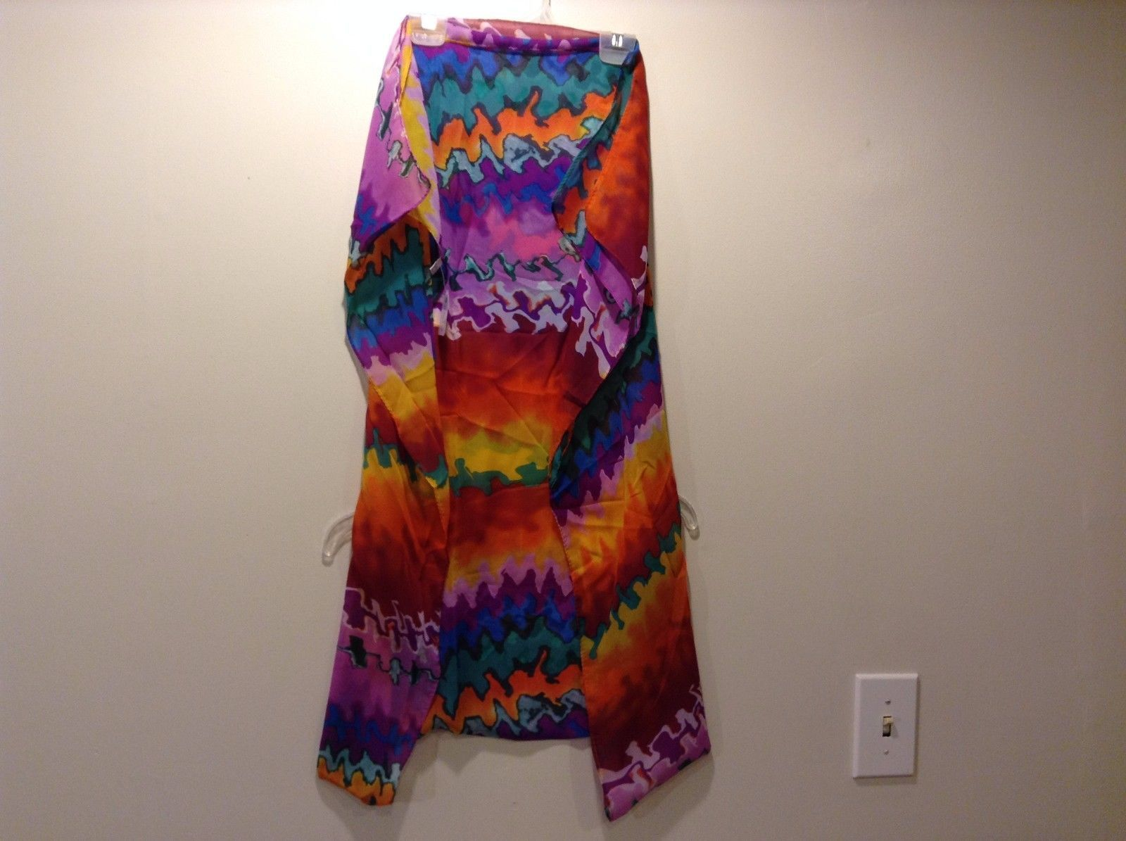 Howard's 100% Polyester Tie Dye Scarf Orange Blue Purple Yellow Red Teal