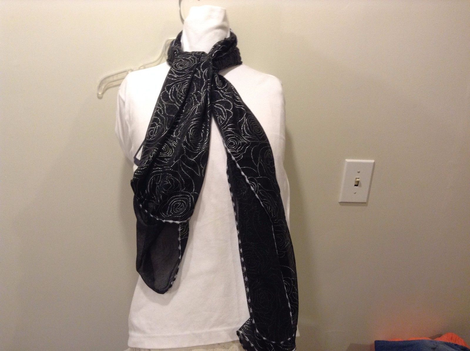 Howard's 100% Polyester Sheer Black White Trim Silver Beading Rose Pattern Scarf