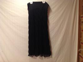 Christopher & Banks Women's Size S Black Skirt Ruched w/ Black Net Mesh Overlay