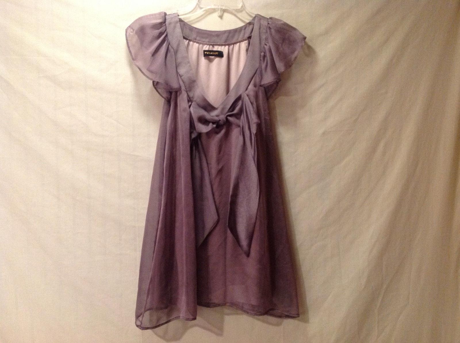 Peridot Women's Size L Babydoll Top Dusty Mauve w/ Ruffle V Neck & Bow Sash Tie