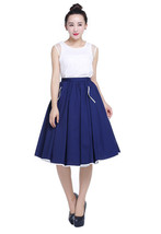Navy Blue Full Skirt with White Contrast Trim -... - $38.00