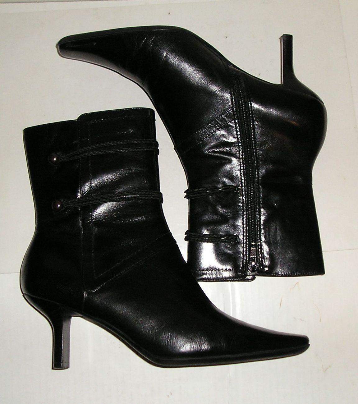 NINE WEST SYD Women's Black Leather Fashion Dress Zipper Ankle Boots Shoes 7 M
