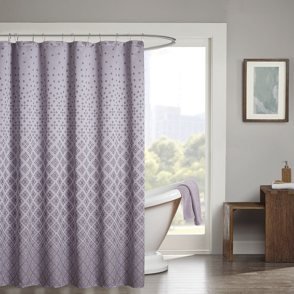New Beautiful Purple Silver Jacquard Sequins Ombre Shower Curtain 72 X 72 Shower Curtains
