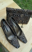 Nine West Faux Shiny Snakeskin Kitten Heel Shoes & Matching Clutch Purse... - $49.49