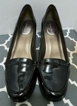 Calvin Klein Women Size 8.5 Black Patent Leather Loafer Wooden Heel Signature - $49.49