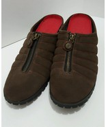 Cole Haan Womens Size 10.5 Waterproof DADE Brown Suede Red Stitch Mules Clogs - $37.61