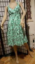 ND NEW DIRECTIONS HALTER STRAP SLEEVELESS GREEN AND WHITE POLKA DOT DRES... - $19.79