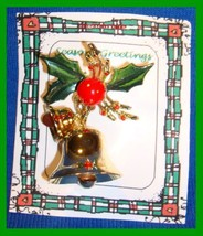 Christmas PIN #0011 VTG Bells Dangle ~ Holly Leaves & Berries ~ Goldtone HOLIDAY - $14.80