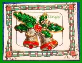 Christmas PIN #0048 Double Bells Goldtone & Red w/Green Enamel Holly ~Goldtone~ - $9.85
