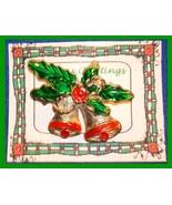 Christmas PIN #0048 Double Bells Goldtone & Red w/Green Enamel Holly ~Go... - $9.85