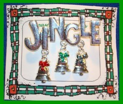 Christmas Pin #0044 Vtg Not Signed Jingle Silvertone W/3 Trees Dangling Holiday - $19.75