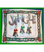 Christmas PIN #0044 VTG Not Signed JINGLE Silvertone w/3 Trees Dangling ... - $19.75