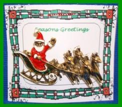 Christmas PIN #0079 VTG Santa Sleigh & Reindeer Goldtone HOLIDAY BROOCH/PIN - $24.70