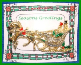 Christmas PIN #0080 Signed Gerrys TopHat Man & Bonnet Lady Sleigh-Horse ... - $24.70