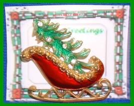 Christmas PIN #0082 Red Sleigh Green Tree W/Rhinestones Goldtone HOLIDAY... - $14.80