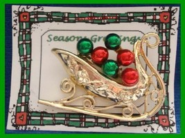 Christmas PIN #0085 Signed Tancer II Sleigh Goldtone & Red & Gren Enamel... - $34.60