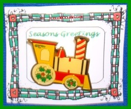Christmas PIN #0078 Train Goldtone Enamel Green, Red & Yellow VGC - $9.85