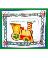 Christmas PIN #0078 Train Goldtone Enamel Green, Red & Yellow VGC - $9.85
