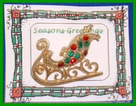 Christmas PIN #0086 Sleigh Goldtone with Red & Green Rhinestones HOLIDAY - $19.75