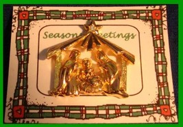 Christmas PIN #0104 Goldtone Manger Scene Tac Pin with Star Rhinestone A... - $9.85