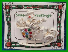 Christmas PIN #0081 Signed DODDS Santa Sleigh White with Rhinestones - $39.55