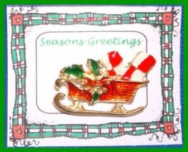 Christmas PIN #0087 Sleigh w/pkgs Goldtone with Red, Green-White Enamel ... - $14.80