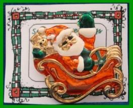 Christmas PIN #0091 Sleigh & Santa, Goldtone w/Red, Green & White Enamel... - $19.75
