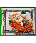 Christmas PIN #0091 Sleigh & Santa, Goldtone w/Red, Green & White Enamel... - $19.75