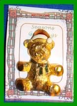 Christmas PIN #0108 Vintage Teddy Bear Red & White Hat-Green Enamel Bow ... - $12.82