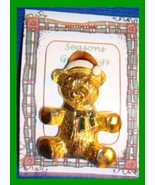 Christmas PIN #0108 Vintage Teddy Bear Red & White Hat-Green Enamel Bow ... - $12.82