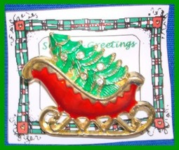 Christmas PIN #0084 Sleigh Goldtone & Red & Green Enamel with 5 Clear Rh... - $14.80