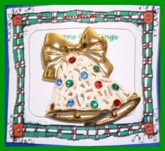 Christmas PIN #0076 Double Bells Frosted & Goldtone with Rhinestones HOL... - $14.80