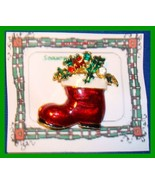 Christmas PIN #0119 Red Stocking Santa Boot Swarovski Rhinestone Goldton... - $19.75