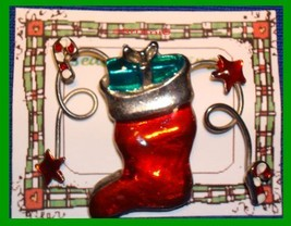 Christmas PIN #0118 Red Stocking Star Candy Cane & Gift Goldtone-Enamel ... - $19.75