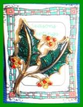 Christmas PIN #0137 Vintage Beatrix Holly Leaves Enamel & Crystals HOLID... - $19.75