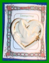Christmas PIN #0168 Signed LENOX Porcelain Dove in Heart with Goldtone Trim - $14.80