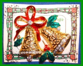 Christmas PIN #0026 Bells Goldtone Swarovski Crystal Rhinestones Red Ena... - $19.75