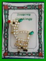 Christmas PIN #0349 Multicolor Rhinestone Deer Goldtone Pin Red Nose-Gre... - $24.70