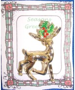 Christmas PIN #0364 VTG Gerrys Buck Reindeer Goldtone & Holly Scatter Pin - $14.80