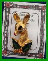 Christmas PIN #0346 Doe Deer & Holly-Goldtone with Green & Red Enamel Lo... - $24.70