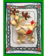 Christmas PIN #0358 Buck Reindeer Goldtone Pin Enamel Brown Horns ~looki... - $19.75